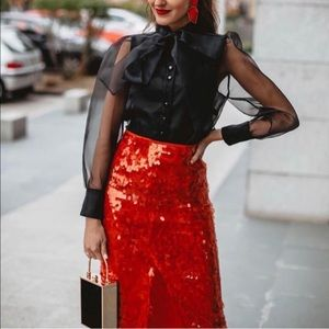 8c018f6f9e Zara Skirts | Gorgeous Nwt Red Sequins Skirt | Poshmark